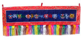 Tibetan Buddhist Prayer Flag, Blue, with Eight Auspicious Signs and Om Mani Padme Hum