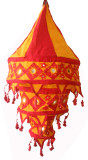 Tibetan Cotton Handmade Lantern in Red and Orange