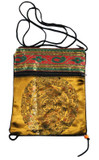 Tibetan Satin Prayer Beads Mala Bag or Passport Bag, Gold