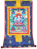 White Tara Tibetan Buddhist Thangka, Mounted in Brocade