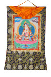 White Tara Buddha Thangka, Hand-Painted in Nepal