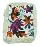 Hemp and Wool Wallet with Flower Embroidery
