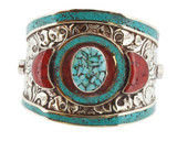 Turquoise and Coral Bracelet, Brass