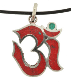 Buddhist Om Symbol Pendant, Coral and Sterling Silver