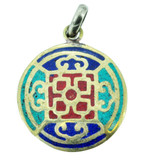 Mandala Pendant with Turquoise, Coral, and Lapis Lazuli Inlay