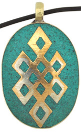 Turquoise Eternity Knot Pendant, Handmade from Silver Alloy and Brass