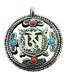 Double Dorje Pendant with Om Symbol, Two-Sided