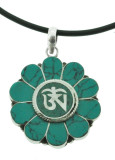 Turquoise and Sterling Silver Lotus Flower Om Symbol Pendant