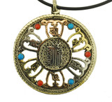 Three Healing Metal Kalachakra Mantra Symbol Circle Pendant