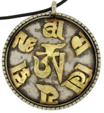 Om Mani Padme Hum Pendant, Silver and Brass