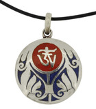 Tibetan Om Symbol Pendant, Coral and Lapis Lazuli with Vine Design
