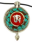 Turquoise Om and Copper Endless Knot Prayer Box Pendant