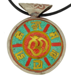 Om Symbol Pendant, Silver and Brass with Turquoise and Coral Inlay