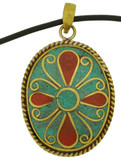 Turquoise and Coral Flower Pendant in Brass
