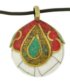 Brass Bone Pendant with Turquoise and Coral