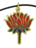 Lotus Flower Pendant, Brass with Coral and Lapis Lazuli Inlay
