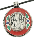 Ganesh Pendant with Coral Inlay