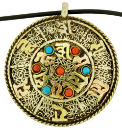 Om Mani Padme Hum Pendant with Kalachakra Mantra Symbol, Brass and Silver