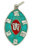 Tibetan Om Symbol Pendant with Om Mani Padme Hum, Turquoise and Coral