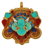 Mahakala Buddha Prayer Box, Gold with Turquoise and Coral Inlay