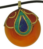 Beeswax Pendant with Turquoise, Coral, and Lapis Lazuli