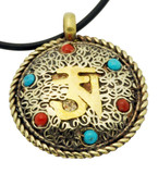 Om Pendant, Silver and Brass with Turquoise and Coral Gemstones