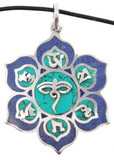 Buddha Eyes Lotus Flower Pendant, Handmade from Lapis Lazuli and Turquoise