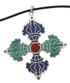 Double Dorje Pendant, Lapis, Turquoise, and Coral