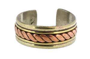 Three-Metal Medicine Ring, Copper, Brass, and Silver