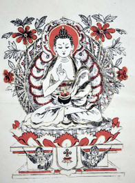 Buddha Poster, Hand-Painted on Lokta Paper