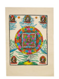 Buddha and Mandala Poster, Hand-Painted on Lokta Paper