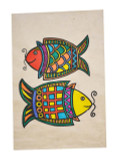 Two Fish Symbol, Lokta Paper Poster