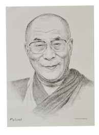His Holiness the 14th Dalai Lama Sketch Poster in Black and White