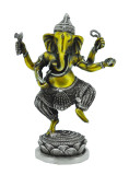 Dancing Ganesh Statue, Silver and Brass