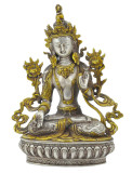 White Tara Buddha Statue, Silver and Gold