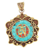 Tibetan Om Symbol Pendant, Brass with Turquoise and Coral