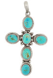 Cross Pendant, Sterling Silver and Turquoise