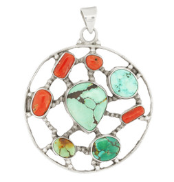 Turquoise and Coral Circle Pendant