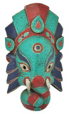 Ganesh Mask, Elephant Mask, with Turquoise, Coral, and Lapis Inlay