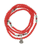 Red Jade Prayer Beads with Buddha Pendant