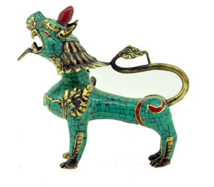 Tibetan Buddhist Snow Lion Statue, Brass with Turquoise, Coral, and Lapis Inlay