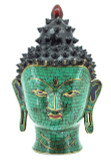Buddha Head Statue, Brass with Turquoise, Coral, and Lapis Inlay