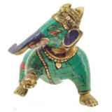 Baby Ganesh Statue, Handmade from Brass with Turquoise, Coral, and Lapis Inlay