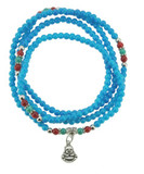 Blue Happy Buddha Prayer Beads, with Jade and Coral Spacer Beads