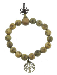 Sandalwood Wrist Mala with Tree of Life Charm