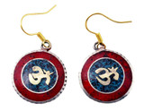 Om Symbol Earrings, Brass and Silver with Coral and Turquoise Inlay