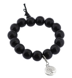Dark Wood Wrist Mala with Tree of Life Charm