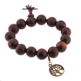 Red Wood Wrist Mala with Brass Tree of Life Charm