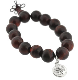 Red Wood Wrist Mala with Silver Tree of Life Charm