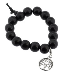 Dark Wood Wrist Mala with Silver Tree of Life Charm